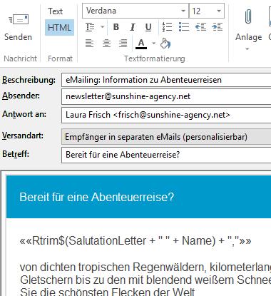 eMailing im Editor bearbeiten