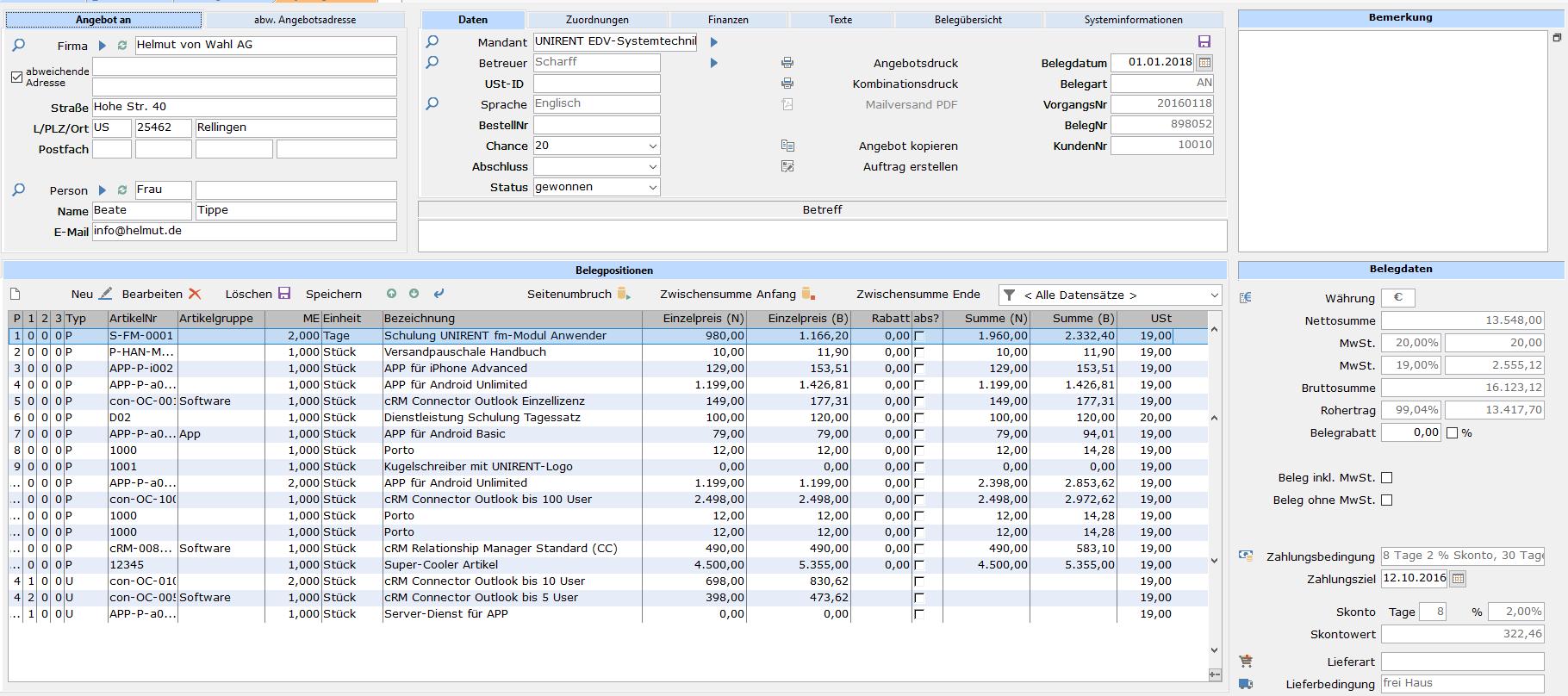 Bei der Erfassung von z.B. Angeboten werden alle relevanten Daten des Kunden automatisch gefüllt, auch abweichende Adressen.