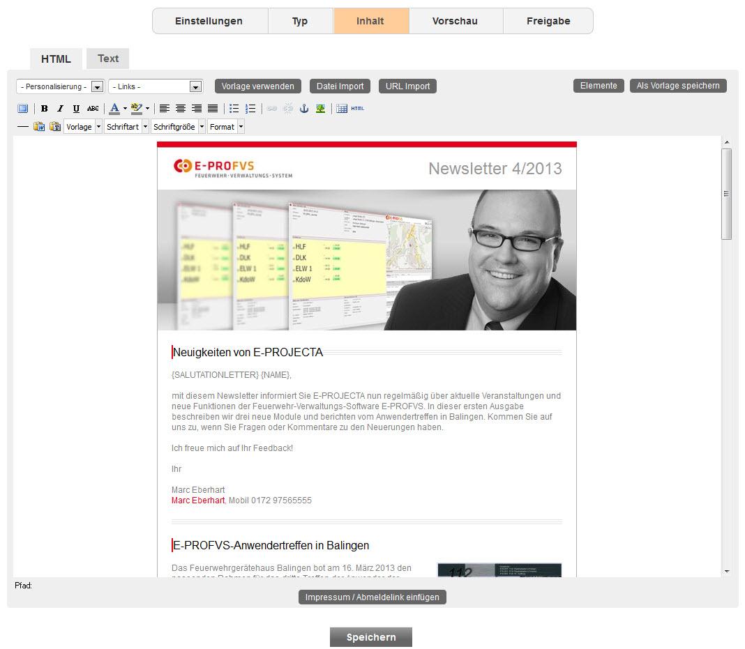 Mit Hilfe von bereits mitgelieferten Templates kann das Mailing einfach und schnell erstellt und auch bei Änderungen komfortabel bearbeitet werden.