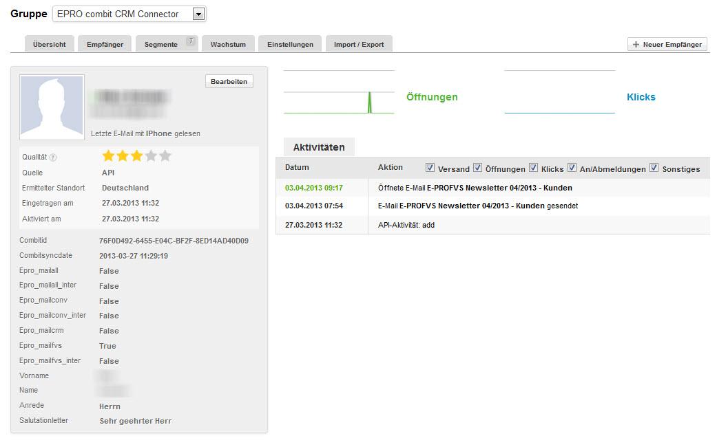 Das Profil des Empfängers zeigt alle relevanten Daten und Aktivitäten an, u.a. das Öffnungs- und Klickverhalten.
