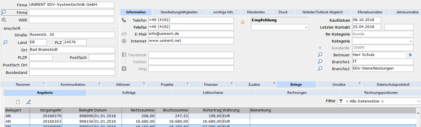 UNIRENT Faktura Solution: Bei der Ansicht Firmen erhalten Sie alle relevanten Daten zur Firma inkl. Monats- und Jahresumsätze.
