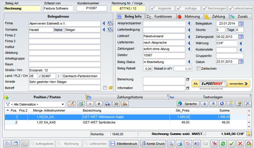 Die E-POST Schnittstelle ermöglicht es, Dokumente mit nur wenigen Klicks zu erstellen und zeitsparend zu versenden. Das Beispiel zeigt das Erstellen von Rechnungen aus der Faktura Ansicht des cRM heraus.