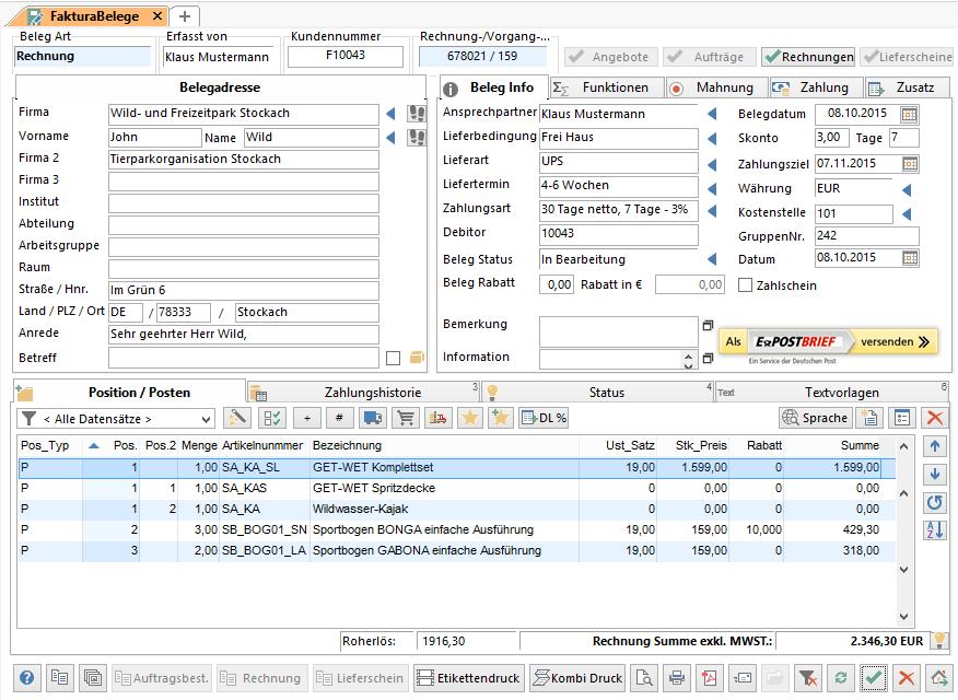 Belegverwaltung mit Angeboten, Aufträgen und Rechnungen, Serienbelegen, Teilrechnungen und –lieferungen.