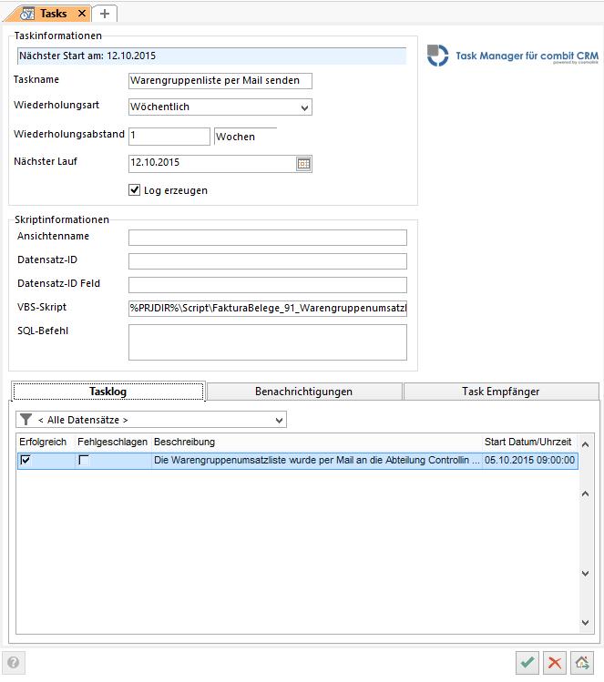 Der Taskmanager für den cRM erlaubt die Aufgabenplanung.