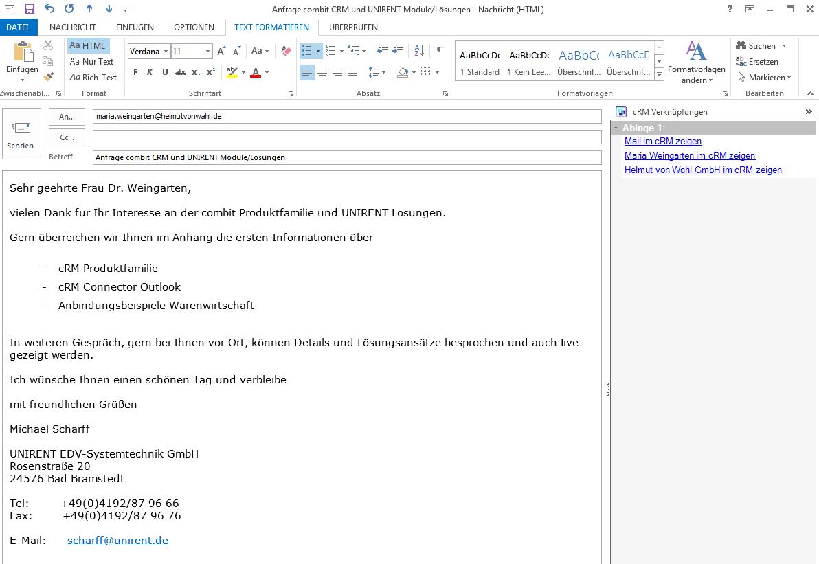 Ihre ausgehenden eMails werden automatisch im combit CRM dokumentiert. In der Outlook Ansicht werden die Verknüpfungen Ihres Kontaktes angezeigt, so dass alle Informationen sofort verfügbar sind.