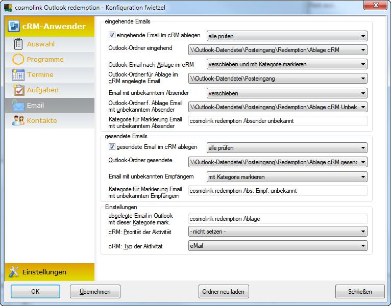 redemption archiviert nach Ihren Anforderungen eMails automatisch im combit Relationship Manager. Die Konfiguration dafür ist übersichtlich und schnell erledigt. Sie profitieren von einer geordneten und einheitlichen Datenablage.