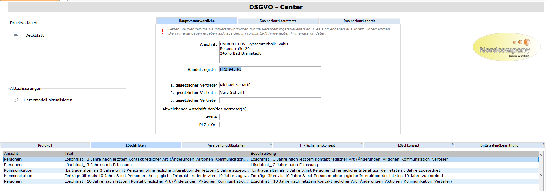 Integriertes DSGVO-Modul. Protokollierung von Änderungen personenbezogener Daten. Erfassung von Löschfristen und Löschkonzepten, Verarbeitungstätigkeiten sowie IT-Sicherheitskonzepten.