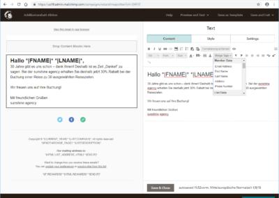 Vorlagen erstellen mit Mailchimp-Editor