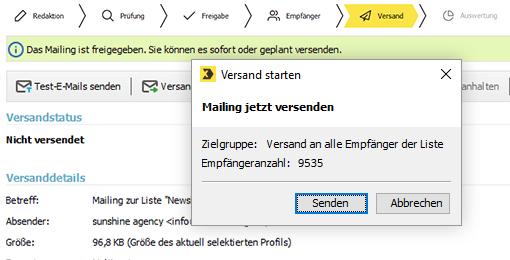Inxmail Mailing versenden