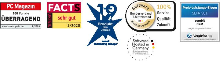Auszeichnungen und Siegel combit CRM