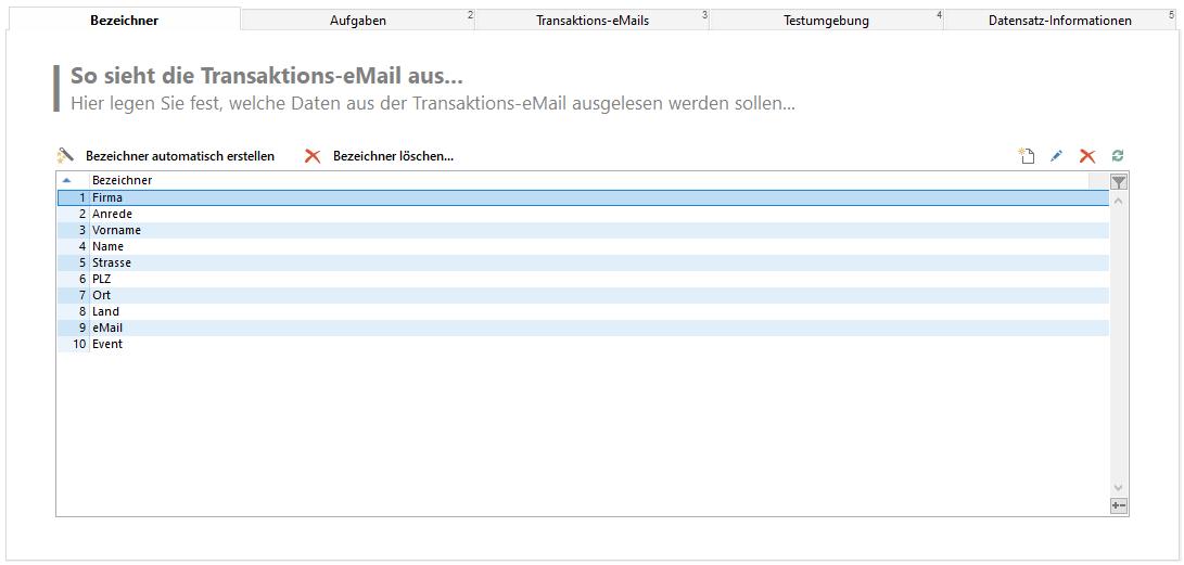 eMail Autopilot Bezeichner-Konfiguration